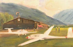 Alpen Segelflieger Flughafen Hangar Berge Ölgemälde Monogrammiert ca. 1970er