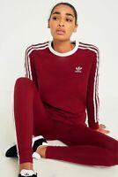 ADIDAS Originals 3-Stripes Long Sleeve Maroon T-shirt Womens UK 8 BNWT Crew Neck