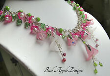 Pink Lucite Flower Green Glass Silver Necklace USA HANDMADE Spring Floral