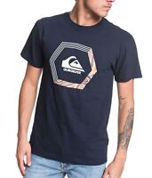 Quiksilver Mens T-Shirt Night Blue Size Medium M Blade Dreams Logo Hex tee 478