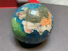"Gemstone Globe Paper Weight 3.25"" Diameter w/ Inlaid Semi-Precious Stones"
