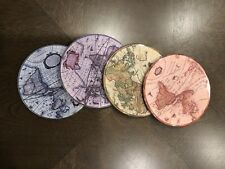 New listing 4 pc Geographic Maps Kitchen Dinning Breakfast Table Cup Coasters