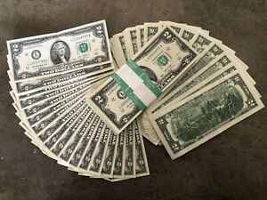 ✯Lot of 10 Lightly Circulated 2013 RARE Two Dollar Bill $2 Note Collectible✯