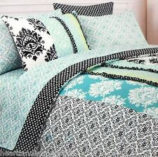 CYNTHIA ROWLEY XLTWIN TEAL BLACK DUVET COVER SET GREEN FLORAL RUFFLE WHITE DORM