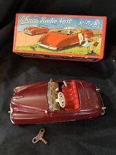 """SCHUCO- RADIO- CAR  4012, """" RED"""" Germany U.S-Zone tin toy wind-up,W/ box 1940s?"""