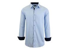 NWT Galaxy Harvic Men Slim Fit Long Sleeve Solid Light Blue Dress Shirt 2XL