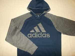 ADIDAS CLIMAWARM NAVY BLUE & GRAY HOODED SWEATSHIRT MENS MEDIUM NICE CONDITION