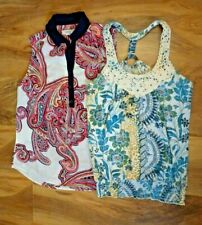 Lot 2 Women Summer Multicolor Blouse Sleeveless Cotton Blend Top Size Small