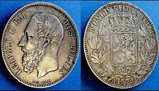 Belgique Léopold II 5 FRANCS 1876 - Petite tête - Zilver/Argent .900 Non Circulé