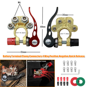 Battery Terminal Clamp Connectors 4 Way Positive Negative Quick Release Car Boat