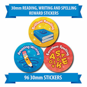 """96 30mm """"READING, WRITING AND SPELLING"""" school reward stickers pencil book"""