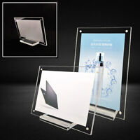 1*Acrylic Crystal Clear Photo Frame Picture Free Standing Magnetic Economy Frame