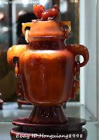 Rare Chinese Natural Agate Onyx Carving Dragon Pixiu Lion Incense Burner Censer