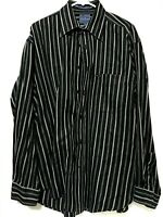 Faconnable Mens Button Down Long Sleeve Dress Shirt Navy Blue Striped Size Large