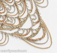 Banana Republic BR Necklace Tri Color Gold Silver Bronze Tone Chain Bib NWOT
