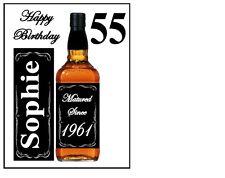 """Personalizzata qualsiasi whisky, champagne, BOTTIGLIA di vino etc glassa foglio 10""""x8"""" cake topper"""