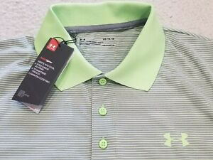 $60 NWT UNDER ARMOUR HEAT GEAR GREEN GREY STRIPED POLO SHIRT MENS SIZE L LOOSE