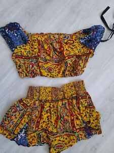 Misguided Yellow Tropical Two Piece Size 8/10