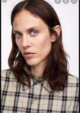 Zara Women Plaids Long Sleeve Button Shirt Size L