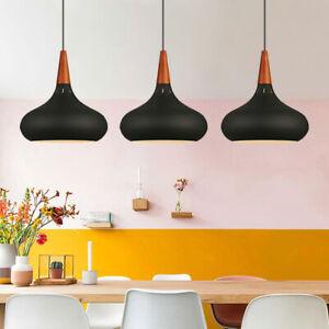 3X Black Pendant Lights Wood Ceiling Light Modern Lamp Home Chandelier Lighting
