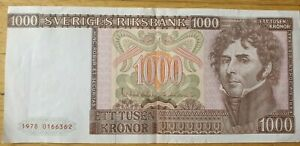 Swedish banknotes,1000 kronor banknote 1978, unfolded fine condition - See pictu