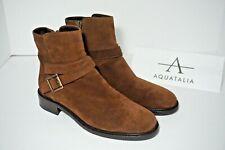 AQUATALIA BREE Waterproof Moto Ankle Boot Buckle Bootie Brown Suede US 5 M