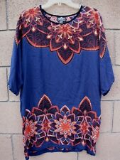 Angie Tunic Top XXL Boho Dolman Sleeve Navy Blue Orange Floral Flower Plus Size