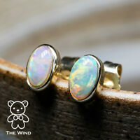 14K Yellow Gold Small Oval Natural Australian Solid Opal Stud Earrings
