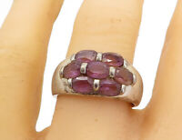 925 Sterling Silver - Vintage Amethyst 7 Stone Smooth Band Ring Sz 10 - R17423