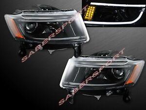 Pair Black Headlights w/ LED Strip (Halogen Ver.) 2014-2016 Jeep Grand Cherokee