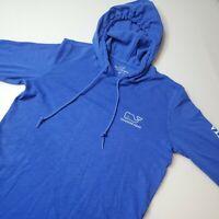 Vineyard Vines Women's Long Sleeve Hoodie T-Shirt Size Medium Blue Whale Logo