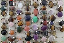 LOT DE 30pcs naturel stein mix bague Pierre Multicolore Plaqué argent