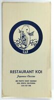 1970's Vintage DINNER Menu RESTAURANT KOI Japanese Cuisine Seal Beach California