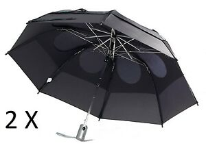 2X Gustbuster Metro Umbrella Black Automatic Open SAVE ON TWO!