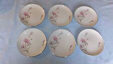 "CARNATION Royal Court Fine China  Set of 6 Japan Bread Butter Plate 6 1/8"" EC"