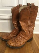 M. L. Leddy's Hand Made Exotic Full Quill Ostrich Western Boots Size 8 1/2 D