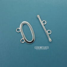 Solid Sterling Silver 2 Strand Oval Plain Toggle Clasp Connector 18mm/24mm 33245