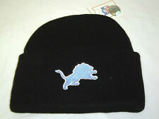 New! NFL Detroit Lions Cuffed Beanie Black Embroidered Skull Cap