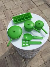 Vintage Green Plastic Toy Pot And Pans Play Set 1982
