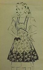 Vintage Bib Apron Full Size Pattern 40s WWII Style Pocket Sewing Project