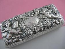 Rare Sterling GORHAM Box ~ floral repousse w/ angel cherub & fairy ornate