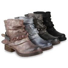 Damen Stiefeletten Leicht Gefüttert Biker Boots Schnallen Metallic 832092 Schuhe