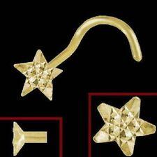 750 echt Gold Nasenstecker Nasenpiercing Spirale Sterne Körperschmuck Damen Neu