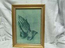"""ANTIQUE WOODEN PICTURE FRAME PAINTED GOLD PRAYING HANDS PRINT PIC-7 3/4"""" X 11"""""""