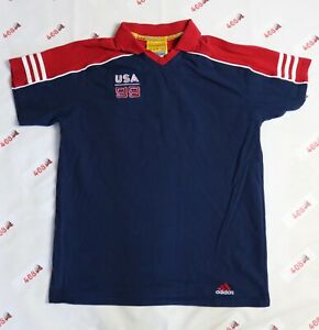 Vintage Adidas Polo Shirt Women's Large Navy USA World Cup 1999