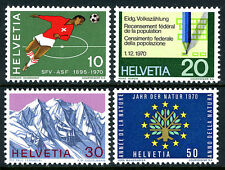 Switzerland 517-520, MNH. Soccer,Census Form,Swiss Alps,Nature Conservation,1970