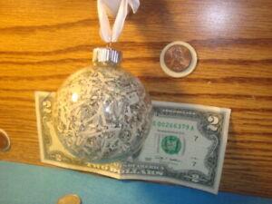 Shredded Cash Currency Round Glass Hanging Christmas Ornament Shredded Money