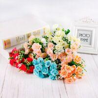 15 Têtes Soie Rose Fleurs Artificielles Fausse Bouquet Mariage Maison Fête Déco