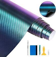 6D Auto Folie Carbonfolie Vinyl Aufkleber 300x30cm Chamäleon Blau violett
