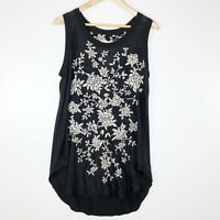 Johnny Was Size Small Womens Black Floral Embroidered Silk Sleeveless Tank Top